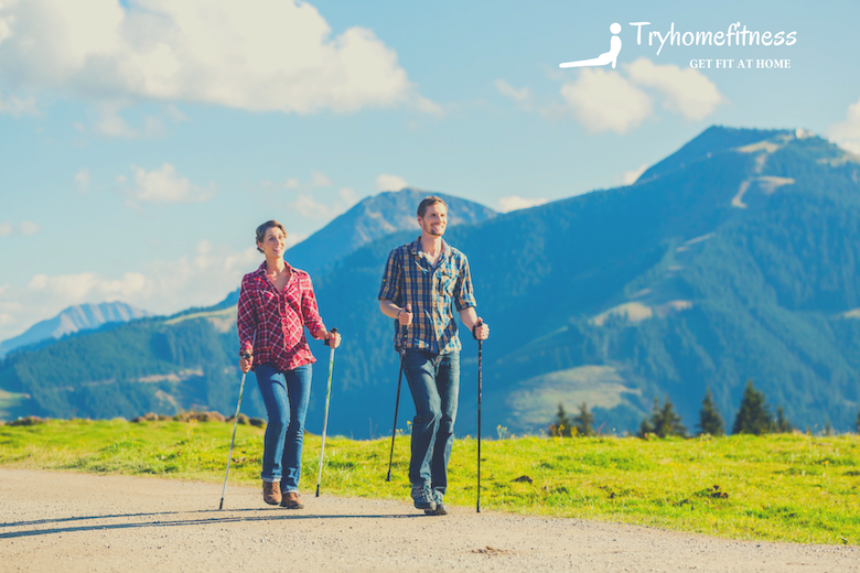 a couple nordic walking for fitness