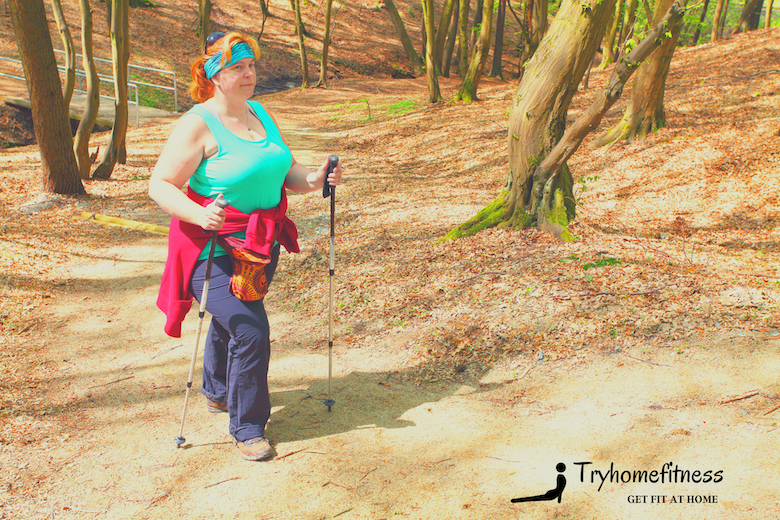 walking for weight loss overweight woman with walking poles