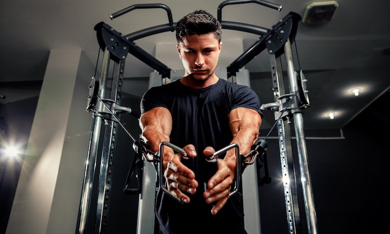 Man on a functional trainer