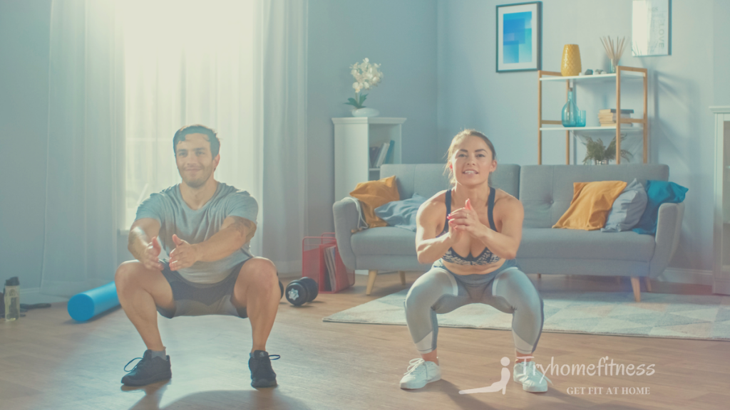 Couple doing squats at home