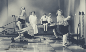old picture of women losing weight with cardio machines