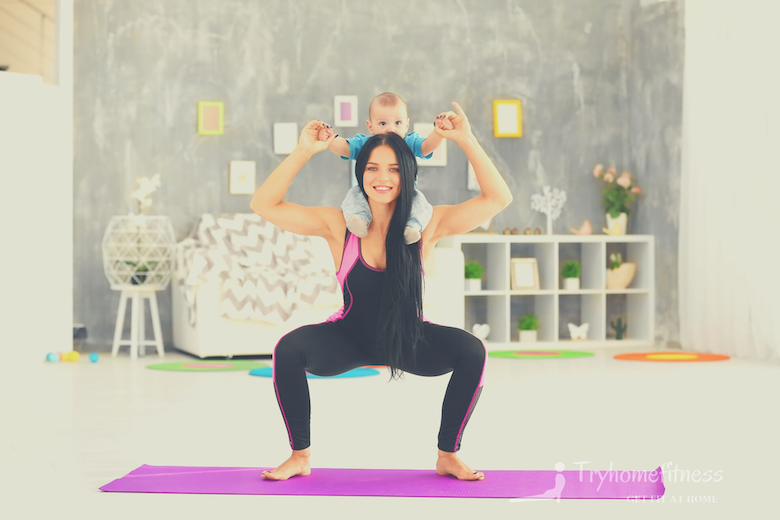 Squats with mother & baby at home