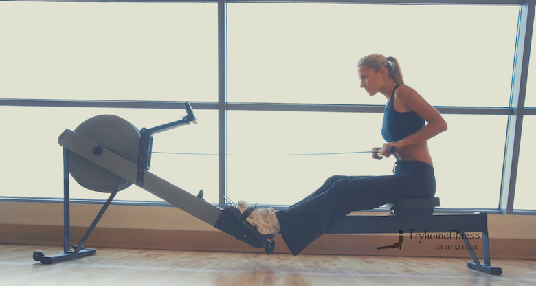 Girl on rowing machine