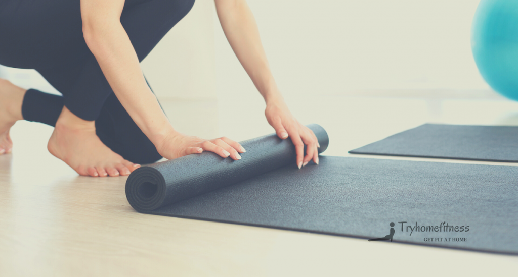 Treadmill mat unrolled by a girl