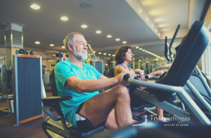 older couple on recumbent bikes