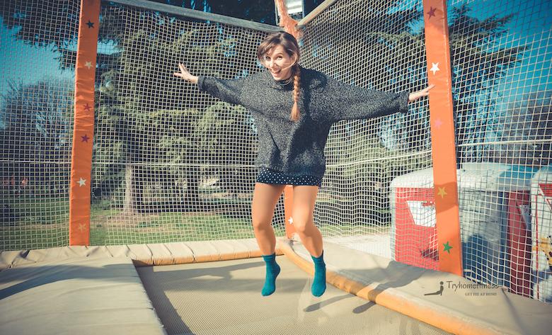 Girl trampolining