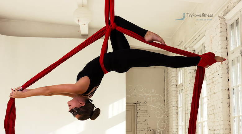 Girl doing aerial silks