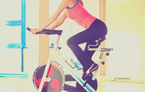 girl on spin bike