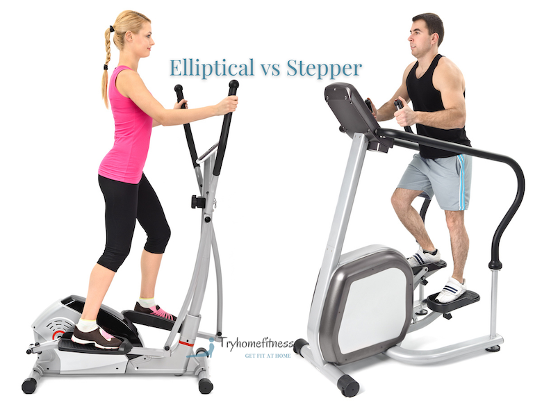 Woman on a elliptical trainer facing a man on a stair stepper machine