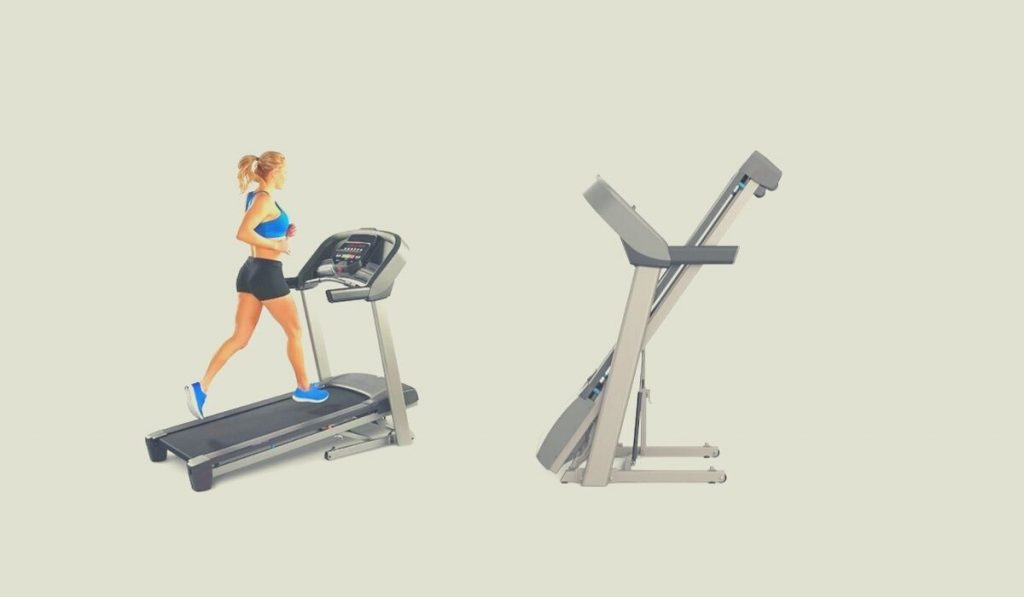 best folding treadmill, 1 image with a girl running on it and another folded