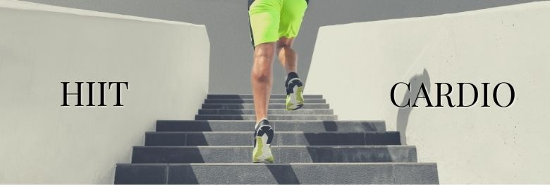 Man runnning up stairs outside with HIIT vs Cardio figured on the walls